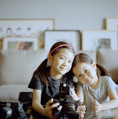 Camera Duo. (MichelleSimonJadaJana) Tags: hasselblad 503cw 80mm f28 cfe carl zeiss planar medium format film analog 220 120 documentary lifestyle snaps portrait childhood children girl jada jana china 中国 shanghai 上海