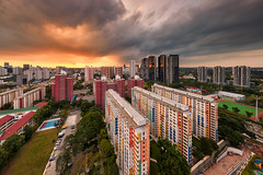 Cityvue View (Scintt) Tags: singapore culture architecture building city urban cityscape skyline buildings structure exploration clouds dramatic surreal epic vantage point wide angle nikkor nikon travel tourism iconic popular offices modern residential skyscrapers scintillation scintt jonchiangphotography light 1424mm pearlbank apartments housing homes property real estate sunset sun sky stitched panorama vantagepoint colour contrast evening dusk hdb public storm glow redhill