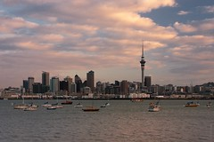 Auckland (denis.evteev) Tags: skyline city water dusk clouds boats tower auckland newzealand sea