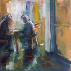 Sunlit Lunch - Déjeuner Ensoleillé [20180202] 20180203_094548 (rodneyvdb) Tags: abstracted art contemporary couple dejeuner ensemble expression expressionism figurative fineart impressionism light modernart painting paris