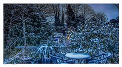 Dusk at Fernbank seen from my balcony last night, Eynsford, Kent. (Richard Murrin Art) Tags: duskatfernbankseenfrommybalconylastnight eynsford kent snow garden richard murrin art photography canon 5d landscape travel images building cool