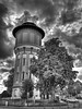 Water Tower (FotoGraf-Zahl) Tags: watertower wasserturm waterreservoirtower hdr blackandwhite schwarzweis tree baum arbol blancoynegro