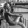 sommerfrische (bilderkombinat berlin) Tags: ⨀2018 berlin mitte spree statues girl river eu bw blackwhite capital bridge square city citysights rio rive europa germany day deutschland daylight sculpture