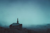 Empty Church on the Hill (Atmospherics) Tags: westfjords stormlight icelandwestfjords vastness vast darkscene cinematic mountainsandsnow winterscene icleand icelandfjords atmospherics wintertones bluetones winterdusklight