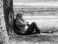 Relaxing Talk (clarkcg photography) Tags: people portrait blackwhite blackandwhite bw outdoors tree ground sitting phone talk conversation woman female blonde