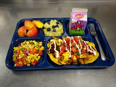 A tray with fruits, vegetables, milk and nachos (USDAgov) Tags: foodandnutritionservice agriculturalmarketingservice fns ams apples beef blueberries cheese commoditypurchasing dairy fooddistribution menuplanning nationalschoollunchprogram nutrition nutritionassistance procurement schoolmeals usdafoods
