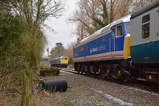 A busy Wymondham loop sees 47596 head the first service train from Dereham past 47367 & DMU, which was on a Driver Experience working. Mid Norfolk Spring Diesel Gala. 18 03 2018
