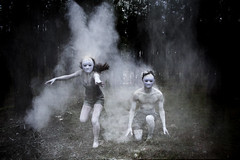 Spirits of the Forest (Ridgway Imagery) Tags: fineartphotography fineartphotographer fineartphoto fineartportrait fineart conceptualphotography conceptualart performancephotography flickr constructednarrative constructed narrative photography photographer fantasy characters leaping jumping performing dancing woodland outdoors forest spirits creatures male female models subjects oldfriends dark creepy spooky world flour white dust ash ridgwayimagery oldwork archive pastwork student degree foundationdiploma diploma art design abstract conceptual