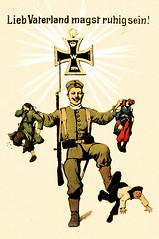 Lieb Vaterland, WK I (zimmermann8821) Tags: gruskarte postkarte zeichnung deutscheskaiserreich deutschesreich 1weltkrieg miilitär soldat engländer franzose russe eiserneskreuz strahlenkranz