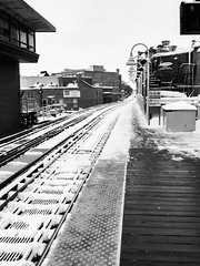 The long, narrow road (dharder9475) Tags: 2018 alone androidphotography bright chicagotransitauthority clear cta damenstation day empty lgv30 platform privpublic shoveled snow traintracks winter