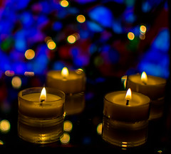 Rainy Day Reflection (daynawines) Tags: indoor inside color reflection mirror candles boken bokeh dof candle