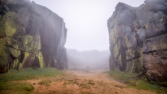 Through the mist... (L A H Photography) Tags: mist fog rock geology yorkshire mood landscape rugged outdoors uk formation light nikon d7200 lens contrast weather