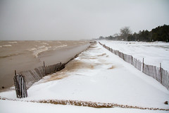 Neshotah Beach Fence (Lester Public Library) Tags: tworiverswisconsin tworivers wisconsin winter winterstormevelyn snow ice street streets lakemichigan water lake sand fence snowfence beach beaches evelyn lesterpubliclibrarytworiverswisconsin readdiscoverconnectenrich neshotahbeach neshotah neshotahpark