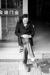 Good night (Go-tea 郭天) Tags: hangzhoushi zhejiangsheng chine cn hangzhou linan candid portrait old man alone lonely sleep sleeping nap napping seat chair quite silence sun sunny shadow warm hot silent deep street urban city outside outdoor people bw bnw black white blackwhite blackandwhite monochrome naturallight natural light asia asian china chinese canon eos 100d 24mm prime rest
