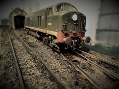 Departing Hammerton Hill Shed. (ManOfYorkshire) Tags: hammertonhill depot shed diesel engine locomotive loco britishrailways green early class23 babydeltic 176 scale model train railway oogauge heljan weathered detailed pioneer diorama layout micro