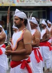 Perahera Guards (1X7A4730b) (Denish C) Tags: srilanka ceylon serendip kandy esala day perahera festival procession pageant street buddhism religion culture tradition heritage costume man guard ceremonial sword weapon