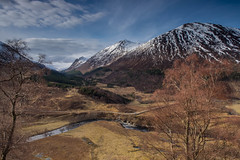 Looking To Gleann  Meinich .. (Gordie Broon.) Tags: gleannmeinich strathconon forest glenmeanie inverchoran balnacraig strathanmore scottishhighlands scotland schottland landscape ecosse paisaje scenery paysage mountains hills collines escocia scenic snowcapped szkocja rivermeig scozia scenario meallgiubhais rio colinas hugeln heuvels landschaft gordiebroonphotography creagruadh meallannanuan creagghlas corbett caledonia alba carnoch milton bridgend marybank contin muiroford scatwell olympusomdem5 olympuszuiko1240mmlens sky trees clouds river geotagged notes