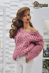 Nice oversize hand-knitted sweater by ELENPRIV (elenpriv) Tags: oversize sweater elenpriv decisive itbe doll fashionroyalty integrity toys jason wu handmade clothes elena peredreeva fr16 16inch 16fashion handknitted