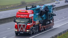 SW02 HCW (panmanstan) Tags: scania 164g wagon truck lorry commercial heavy haulage freight transport vehicle m62 motorway sandholme yorkshire