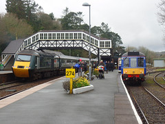43093 & 121020 Bodmin Parkway [Explored] (Marky7890) Tags: gwr 43093 class43 hst 2c45 railway cornishmainline 121020 class121 dmu heritagedmu diesel heritage bodminwenfordrailway bodmin cornwall bodminparkway train