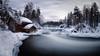 Myllykoski rapids (M.T.L Photography) Tags: myllykoski kuusamo juuma river riverkitkajoki water sky cloudy winter trees ice stream mikkoleinonencom mtlphotography forest snow nikond810 nikkor1424mmf28g panoramicphotography myllykoskirapids