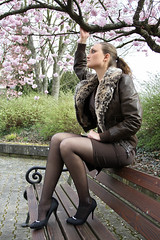 Selina 58 (The Booted Cat) Tags: sexy model girl minidress pantyhose nylon nylons heels highheels