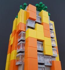 Citrus Block MOC close-up (betweenbrickwalls) Tags: lego afol block apartments architecture microscale yellow orange legophotography architecturephotography building geometry geometric