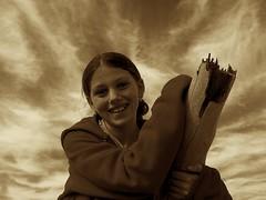 Ash in sky (Earlette) Tags: portrait sky sepia kids children fun timber ashleigh