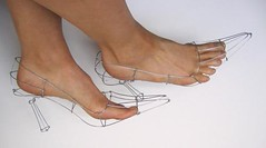 wire sculpture: wire heels
