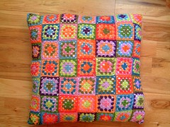 Granny Square Pillow (eclectic gipsyland) Tags: color colour handmade crochet pillow crafty grannysquare coussin grannysquares