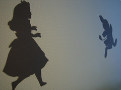 Alice chasing the black rabbit (makeshiftlove) Tags: wallpaper silhouette paper alice livingroom aliceinwon