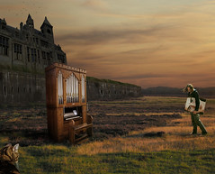 The Recital (Mattijn) Tags: autumn selfportrait castle cat surreal recital organ photomontage pino mattijn oilpainting magicrealism purplemoorgrass