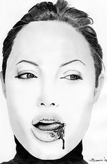 Tasting...life.......... (ladyLara ( Laura Blc )) Tags: portrait people bw laura celebrity art lines pencil sketch blackwhite artwork handmade drawing drawings line angelinajolie romania myart actor angelina jolie portret cluj arta myway angi desen creion schita ladylara unaltraperlanera laurabalc laurablc blc celebritydrawings