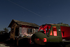 Apocalypse Now (Lost America) Tags: longexposure lightpainting night airplane fullmoon timeexposure huey helicopter junkyard boneyard airliner nomen aviationwarehouse belluh1iroquois