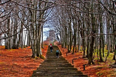 climbing the stairway to... shipka (Iliyan Hristov) Tags: red green fall steps perspective peak panasonic bulgaria shipka fz7 seemslikeautumn butitisspring