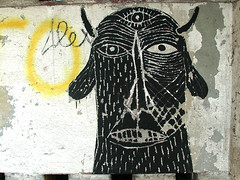 Black Face 1 (dem666) Tags: street streetart black art place 666 evil scratch dem abbandoned botlek