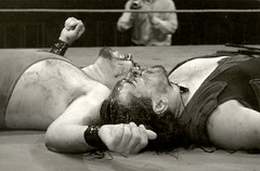 wrestler (candysnap) Tags: 2001 bw fight energy wrestling documentary australia monotone collapse adelaide wrestlers reallife boxingring