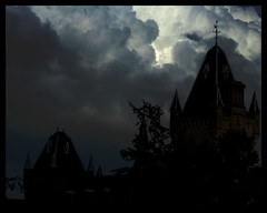 Dark Towers (Ronald Hackston) Tags: uk school england sky london tower silhouette architecture night clouds dark gloomy gothic victorian haunted orphanage asylum wandsworth victoriangothic baronial royalvictoriapatrioticbuilding ronniehackston ronaldhackston lblcomp041