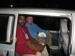 Subhuti and Santosh in car