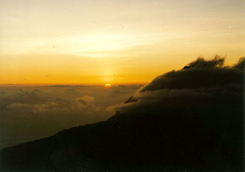 Sunrise from Hans Meyer Cave, Kilimanjaro