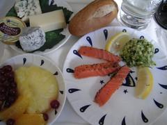 Air France. Food (Tom Mascardo) Tags: food fruit cheese lemon seahorse salmon business pineapple af airfrance affaires lespaceaffaires airfrancefood lestoquesduciel