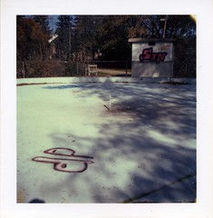 (Denim) Tags: park ontario canada pool polaroid graffiti guelph instant wading colorpack80 utatathursdaywalk28