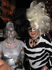 Rita and Trish (ritaknight1999) Tags: halloween drag costume tv dress cd crossdressing queen bighair tgirl transgender tranny transvestite gown crossdresser cruelladevil sequin cruella trannie