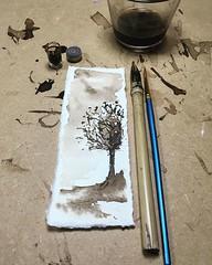 Stiiiiiil not done with this ink/brush/pen combo. It's pretty addictive. #10minsbeforebed #art #walnutink #bamboopen #painting #doitfortheprocess #carveouttimeforart