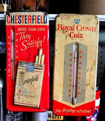 Chesterfield King - Royal Crown Cola Thermometers - Tallulah,Louisiana (Rob Sneed) Tags: usa louisiana chesterfieldkingcigarettes royalcrowncola advertising thermometers vintage sign americana cola cigarettes liggettmyerstobaccoco brandnames brand roadtrip tallulah