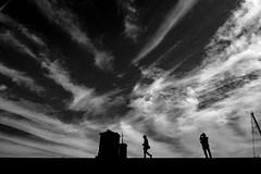 20180315 Sky (soyokazeojisan) Tags: japan osaka mono asia blackandwhite bw clouds river people city street landscape town road shadow 2018 olympus em1markⅱ 918mm bnw