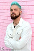 Cameron (Levi Smith Photography) Tags: blue hair mermaid man merman men mens fashion jacket white pink turquoise beard piercings plug earrings jewelry dude handsome hot intense clothes shirt brick contrast color mohawk