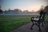 Take a Seat (Andy Tee) Tags: birkenhead park bench seat fog mist sunrise orange fields green frost wirral