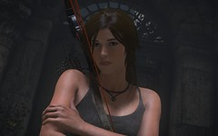 Stare | Rise of the Tomb Raider (Stellasin) Tags: gaming game dark darkness beauty destruction mods weather reflection people trees flare graphics hot photography sky mountains lara croft is love beautiful girl nevermind these tags ruins caves tomb raider mystery treasure hunter