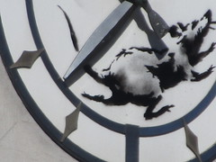 Banksy Clock Rat Running on Closed Bank Building 8355 (Brechtbug) Tags: clock rat running closed bank building banksy sidewalk wall painting the west side corner downtown 6th ave 14th street 03182018 graffiti arts midtown manhattan new york city 2018 nyc art artist artwork silhouette anonymous brit british english uk united kingdom residency mystery exit through gift shop 2014 sixth avenue fourteenth st